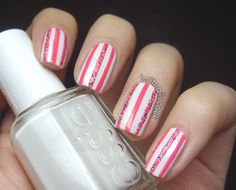 Pink Candy Striped Nails