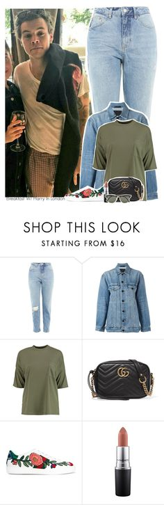 """Breakfast W/ Harry In London"" by jhessicakauana ❤ liked on Polyvore featuring Topshop, Alexander Wang, Boohoo, Gucci, MAC Cosmetics and Ray-Ban"