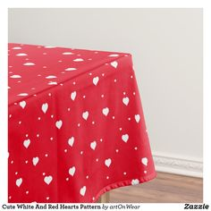 Cute White And Red Hearts Pattern Tablecloth