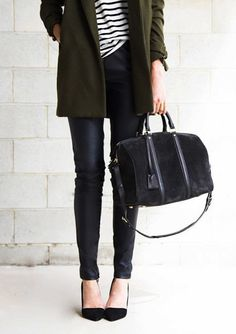 green coat, striped shirt, leather pants, pump & suede duffel bag #style #fashion