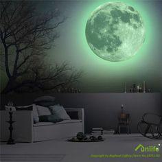 Funlife ( TM ) toutes les tailles lumineux lune Wall sticker, Glow in the Dark Moon Home decor, Amovible étanche Safe pour enfants chambre