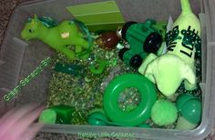 Green Sensory Bin. Help your toddler or preschooler learn their colors with a fun sensory bin with a green theme and objects to explore.