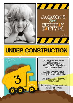 Dump Truck Photo Invitation Construction Birthday Party Custom Printable Digital File Second Third 2nd 3rd. $15.00, via Etsy.
