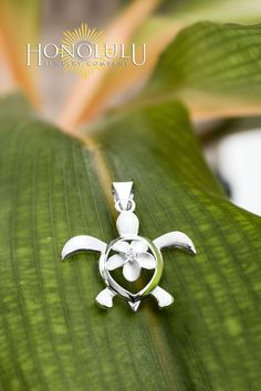 Sterling Silver Turtle Honu with Plumeria CZ Necklace Pendant with Box Chain