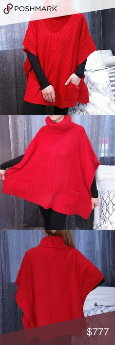 🔥LAST 2🔥COZY Red knitted poncho Brand new no tags Boutique item  Price is firm   Gorgeous red knitted poncho featuring cozy turtleneck, arm holes and pockets. Red with red metallic threading throughout. Pair over any outfit to stay warm and look chic.  One size  Material96%acrylic 4%metallic Colors is a dark red then pics. Red is very hard to photograph. Color varies per screen      Sweaters Shrugs & Ponchos