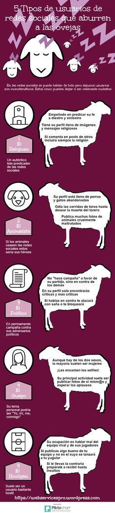 5 tipos de usuarios de Redes Sociales que aburren a las ovejas #infografía