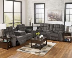 Acieona - Slate Reclining Sectional with Right Side Loveseat by Signature Design by Ashley