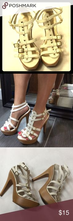 White strappy heels Strappy 👠 only worn once, worn shown on sole delicious  Shoes Heels