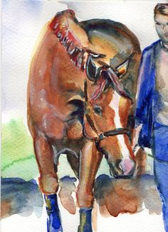 In Hand chestnut sorrel horse with white blaze by mariaswatercolor, $45.00