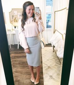 """Courtney Toliver on Instagram: """"I'v had both this blouse and skirt in my closet for a while now, and never could find anything that I wanted to pair them with! Tonight I decided to put them together for church and I love how it turned out.  Tap picture for outfit details. :)"""""""