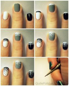 First, paint your nails with whichever color you like.  Then, using a tiny dotting tool (or a needle, possibly a toothpick), make a bunch of dots near the tip of your nail, so many that barely any of the base color shows through. After that, keep working in sections, using less and less dots and making the sections ever so slightly bigger until you reach your cuticle.