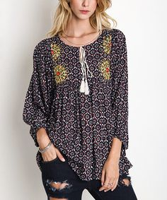 711576e7de188 Black Floral Embroidered Peasant Tunic  zulilyfinds Bohemian Style