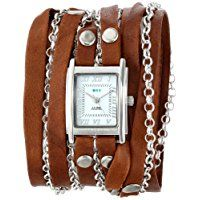 La Mer Collections Women's LMCLIFTON003 Tobacco Silver Clifton Wrap Watch