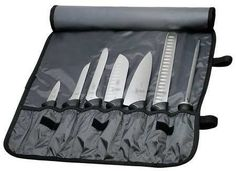 MERCER CUTLERY M21820 Knife Roll Set,8 Piece by MERCER CUTLERY. $128.28. Knife Roll Set, 8 Piece Set, Length (In.) 20.5, Blade Material Stamped High Carbon Stainless Steel, Santoprene/Polypropylene Handle, Yes Finger Guard, Black, NSF Certified Y, Includes 7 Pocket Nylon Roll, 3 1/2 In. Paring, 6 In. Boning, 8 In. Offset Wavy Edge Utility, 7 In. Granton Edge Santoku, 8 In. Chef's, 11 In. Granton edge Slicer, 10 In. Sharpening Steel