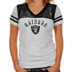 Touch by Alyssa Milano Oakland Raiders Ladies The Coop Football Premium Burnout V-Neck T-Shirt - White-Black