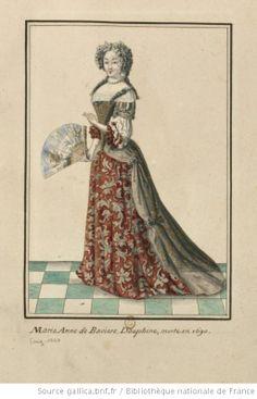 Portrait de dame en grand costume (i.e. in a robe de cour) ; elle tient un éventail ouvert.  Late 17th century