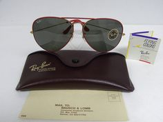 f9d92a4a04c New Vintage B L Ray Ban Large Metal II Flying Colors Red Raspberry Gold 62mm  Aviator Sunglasses USA Classic Colours