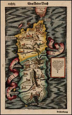 Map of Sardinia, 1550. [1050 × 1676]