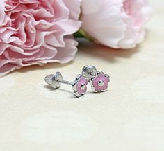 Pink Flower Earrings - for children. Sterling silver with screw on backs.