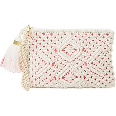 Lilly Pulitzer Boho Wristlet Crochet Clutch ($118) ❤ liked on Polyvore featuring bags, handbags, clutches, accessories, bolsos, resort white, lilly pulitzer wristlet, white purse, white tote bag and purse tote