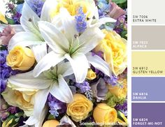 Cool lilac, wisteria lavender, light yellow, warm gray / grey, and white palette.  This photo from an actual bridal bouquet. #wedding #party #color #palette #ideas   Floral Design: Something Floral (Warren, MI)