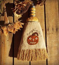Pumpkin Jack on Whisk Broom   Primitive Handmades Mercantile