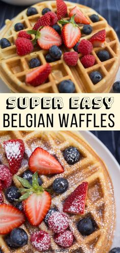 Belgian waffles are such a classic weekend breakfast. Grab a few pantry items and make these with this easy, fail-proof Belgian Waffle Recipe. Fast Dinner Recipes, Best Dessert Recipes, Fun Desserts, Sweet Recipes, Delicious Desserts, Breakfast Recipes, Brunch Recipes, Easy Belgian Waffle Recipe, Easy Waffle Recipe