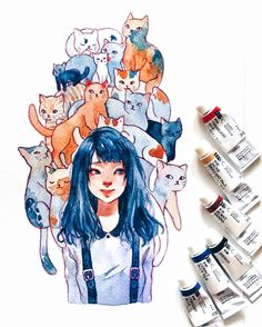 Post with 155 votes and 6659 views. Tagged with watercolor, illustration; Art And Illustration, Watercolor Illustration, Illustrations, Watercolor Drawing, Painting & Drawing, Anime Kunst, Anime Art, Arte Sketchbook, Pretty Art