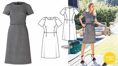 Burda Dergisi 2019 Subat Short Sleeve Dresses, Dresses With Sleeves, Dresses For Work, Street Style, Retro, Womens Fashion, Vestidos, Fabrics, Gowns With Sleeves