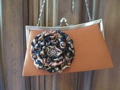 Bronze Satin Front Frame Clutch  with a Black by theraggedyrose, $38.00