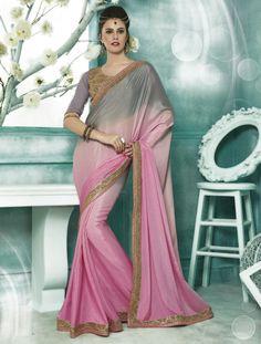 Pink Color Crepe Designer Sarees