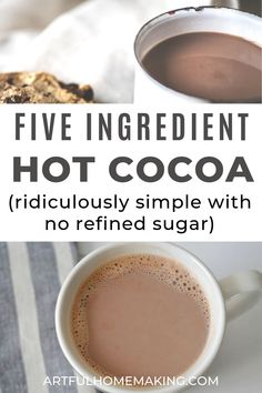 This easy, healthy hot cocoa recipe is so easy and quick to make that it only takes a few minutes to mix and heat the ingredients on the stove top. My kids love this hot chocolate! Hot Cocoa Recipe Stovetop, Hershey Hot Cocoa Recipe, Hot Chocolate Recipe Easy, Dairy Free Hot Chocolate, Healthy Hot Chocolate, Homemade Hot Chocolate, Hot Chocolate Mix, Christmas Hot Chocolate, Cocoa Recipes