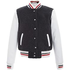 This bomber Thom Browne jacket features a cashmere body with welt hip pockets, contrast leather sleeves and striped ribbed knitting at the collar, cuffs and he…