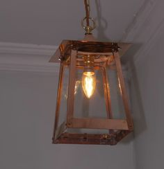 Arts and crafts inspired design. Copper handmade lantern