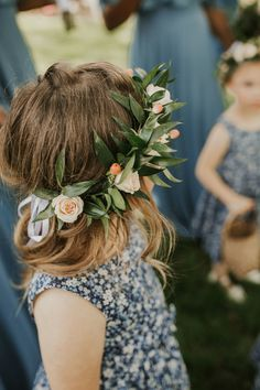 Flower girl crowns for this late spring, formal, boho estate-barn wedding with flowers in shades of peach, coral, blush, mauve, white, and dusty blue. We used protea, blue eryngium thistle, peach ranunculus, white garden roses, peach shimmer roses, peach hypericum berry and a mix of ruscus and feather willow eucalyptus for the greenery.  Floral Design: Fetching Flora in Lancaster County, Pennsylvania / Photography: Katie King Photography / Venue: White Chimneys Estate in Lancaster, PA White Flower Crown, Flower Girl Crown, Flower Crown Wedding, Floral Crown, Flower Crowns, Flower Girl Bouquet, Protea Flower, Thistle Flower, Burgundy Flowers