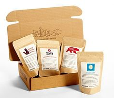 Bean Box Gourmet Coffee Sampler  fresh roasted coffee gift box specialty whole bean 4 handpicked roasts personalized gift note *** You can find more details by visiting the image link.