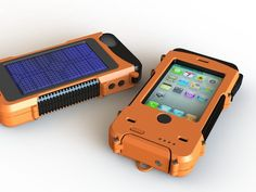 iPhone case, durable, can be used underwater, and charges iPhone with solar panels.