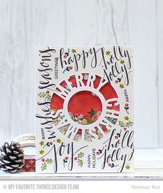Hand Lettered Holiday, Merry Christmas Centerpieces Die-namics - Yoonsun Hur  #mftstamps