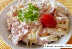 Sonkás sajtsaláta Hungarian Cuisine, Food Porn, Salad Dressing, Bon Appetit, Cabbage, Bacon, Food And Drink, Healthy Recipes, Snacks