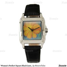 Women's Perfect Square Black Leather Strap Watch/FlowerWomen's Perfect Square Black Leather Strap Watch