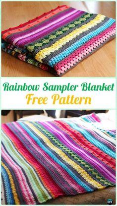 Crochet Rainbow Sampler Blanket Free Pattern - Crochet Rainbow Blanket Free Patterns #Rainbows