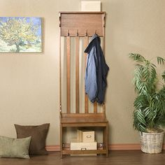 Mission Oak Hall Tree Entry Bench