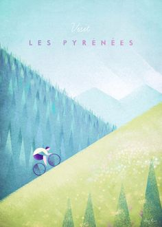Pyrenees Cycling Vintage Travel Poster - Tour de France Cycling Art Print by Henry Rivers / Travel Poster Co. Poster Art, Retro Poster, Kunst Poster, Typography Poster, Poster Prints, Tree Illustration, Illustrations, Party Vintage, Zermatt
