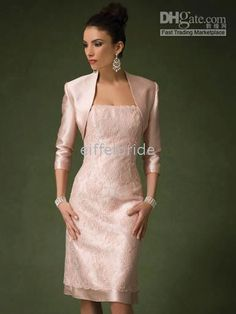 Tea-length pink lace mother of the bride dress prom dresses evening dresses