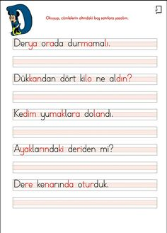 1. Sınıf Okuma Yazma Etkinlikleri D Sesi Cümle Çalışmaları