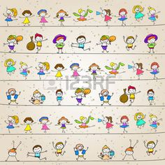 kid drawing line hand drawing cartoon character happy kids playing - Cartoon Kid Drawing