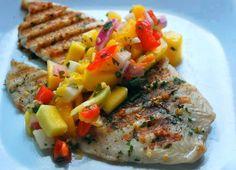 Tonight's Dinner Special! Tilapia with mango sauce!