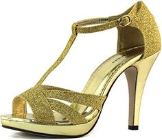 Womens Top Moda Land1 Gold Color Glitter Ankle Strap Sandals Shoes Gold 65 *** Details can be found by clicking on the image.(This is an Amazon affiliate link and I receive a commission for the sales)
