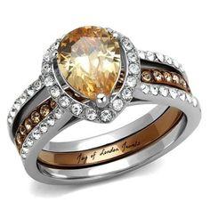 A Perfect 3CT Oval Cut Russian Lab Champagne Diamond Halo Wedding Ring Bridal Set