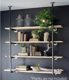 Purposeful Retro Iron Pipe Shelf Wall-mounted Book Shelf Storage Bookshelf Holder Rack Industrial Wall Mount Iron Pipe Shelving Bookshelf Clear And Distinctive Desk Accessories & Organizer Bookends